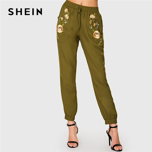 325d81f0d138 SHEIN Army Green Highstreet Office Lady Elastic Waist Floral Embroidered  Drawstring Pants Autumn Women Workwear Casual