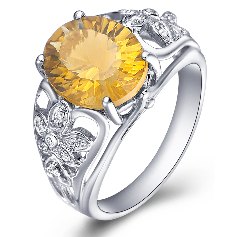 Natural Citrine Ring 925 Sterling Silver Yellow Crystal Woman Fashion Fine Elegant Jewelry Queen Lux Birthstone Gift sr0260c все цены