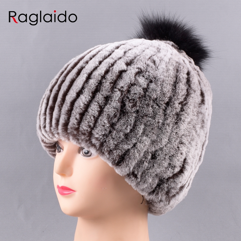 Raglaido Pom Pom Beanies Rex Rabbit Fur Hat Russian women snow caps Genunie natural fur Knit hat with black ball LQ11229