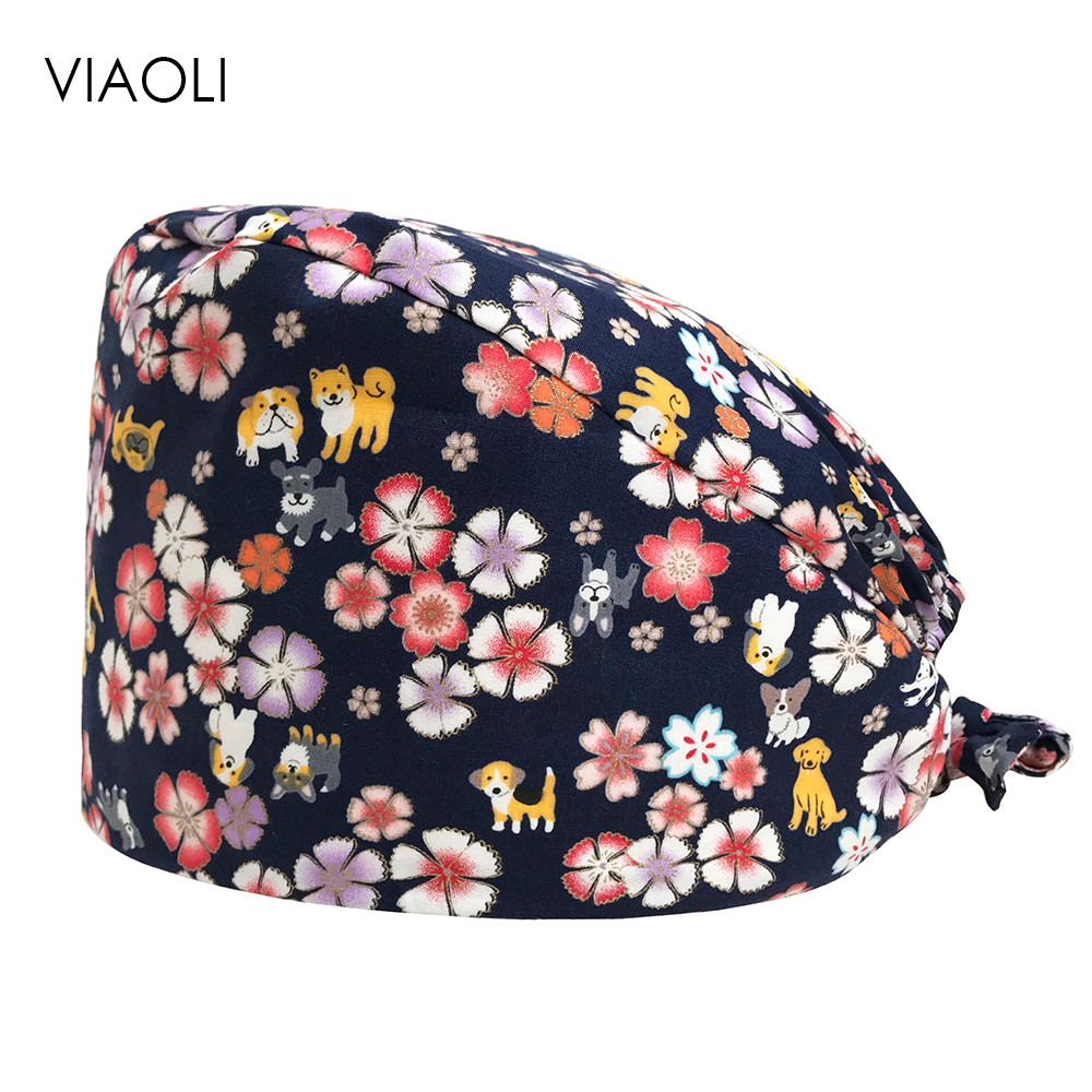 Hospital Surgical Cap Male And Female Doctors Operating Room Hats Dentistry Beauty Work Hats Pet Doctor Flowers Gourd Hats New