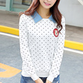 2017 Spring Turn-down Collor Polka Dot Print Tops Long Sleeve Shirt Women Slim Fashion Top T Shirts White Yellow