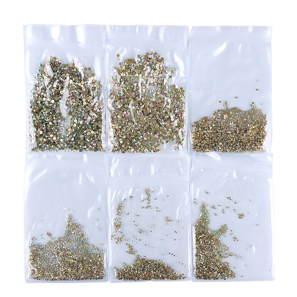 1440pcs/lot Glitter AB Color Nail Rhinestones Decorations Gold Flatback Glass Crystal Gems SS3-SS20 Non Hotfix Nail Tool SA539 super shiny 1440pcs ss16 3 8 4mm clear ab glitter non hotfix crystal ab color 3d nail art decorations flatback rhinestones 16ss
