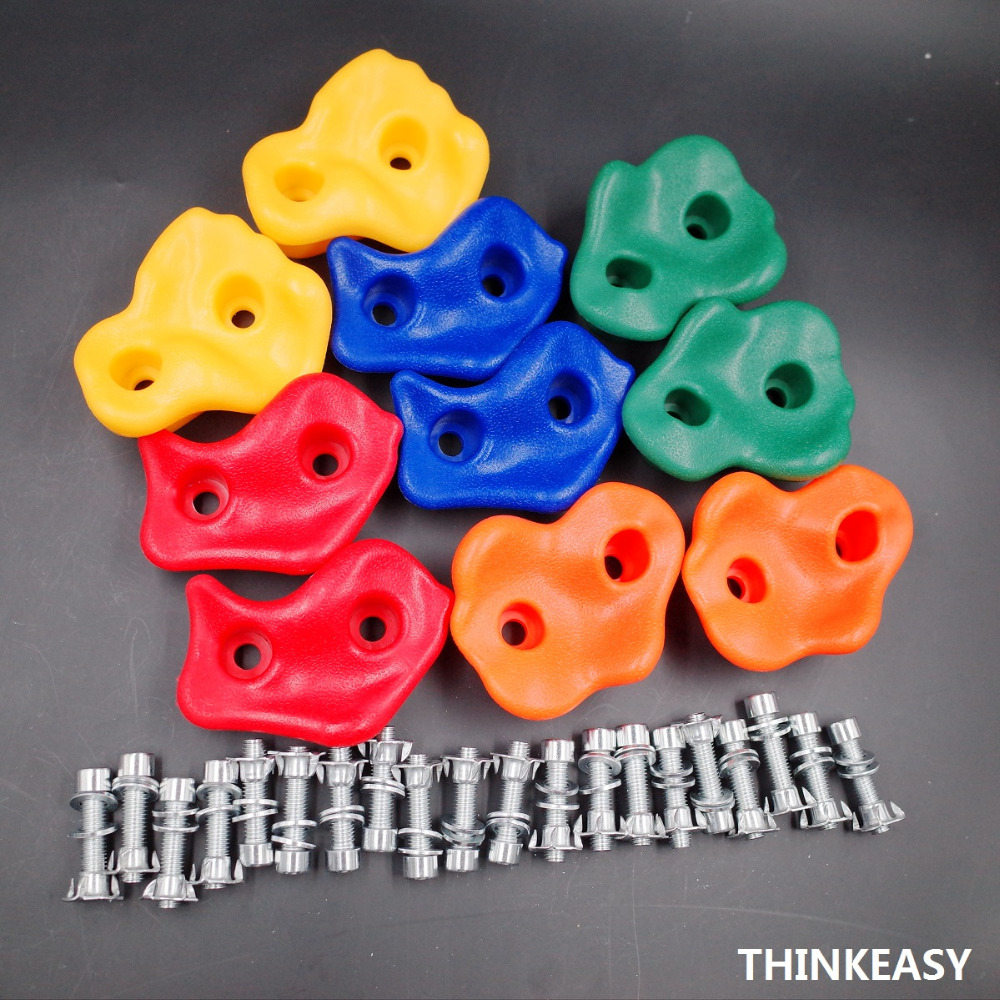 Sports & Entertainment Climbing Accessories 15pcs Plastic Children Kids Rock Climbing Wood Wall Stones Hand Feet Holds Grip Kits Without Screws Random Color