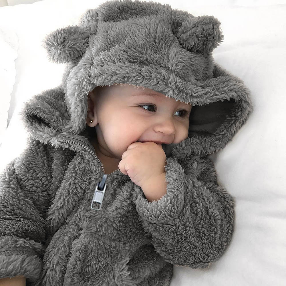 2019 Newborn Baby Clothes Toddler Baby Boys Girls Fur Hoodie Solid Winter Warm Coat Jacket Cute Thick Clothes Soft Home Casaco