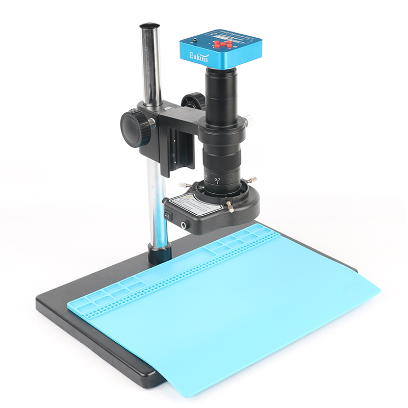 HMDI Vidéo Microscope Caméra 21MP 2 k 1080 p 60FPS 180/300X C-Monture Unique bras rotatif support Pour À Souder PCB Réparation