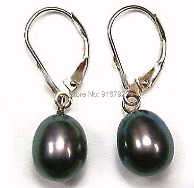 Whole New 8x10mm Black Akoya Pearl Earring Aaa