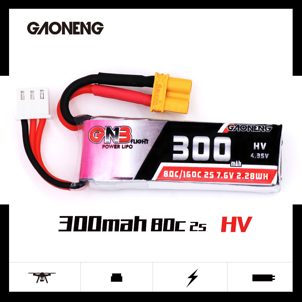 Image 2 - 2PCS Gaoneng GNB 300mah 7.6V 80C/160C HV Lipo battery with XT30 Plug for BETAFPV Beta75X 2S Beta65X 2S Whoop DronesParts & Accessories   -