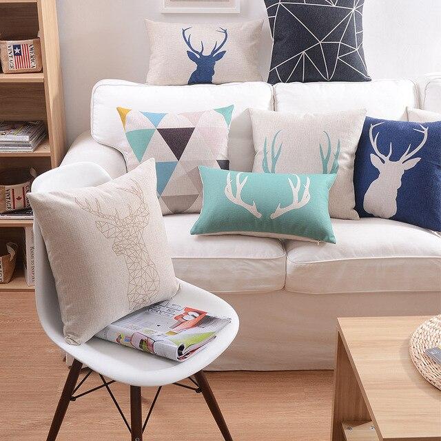 Housse de coussin en lin géométrique Triangle cerf flamant housse de coussin Nordico Style maison taie d'oreiller décorative 45x45 cm/30x50 cm