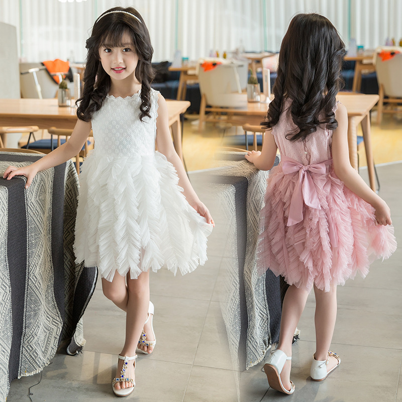 Girls Dress Summer 2017 Children Clothes Solid Cute Mesh Ball Gown Costume for Kids Princess Kids Dresses for Girls 4 10 14 Age new product children princess dresses for girls summer 2017 short sleeved lace flowers cute dress girls clothes kids costume
