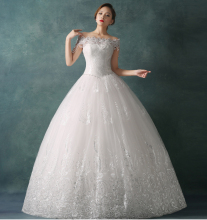 Elegant Ball Gown Wedding Dress Short Sleeve Boat Neck Beading Long Vestido De Noiva NM 756