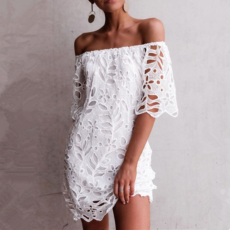 Hollow Out Lace White Summer Beach <font><b>Dress</b></font> Women Wear <font><b>Short</b></font> Sleeve <font><b>Red</b></font> Party <font><b>Sexy</b></font> <font><b>Dresses</b></font> 2019 Off Shoulder Mini <font><b>Dress</b></font> Female Robe image