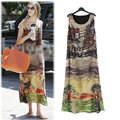 European style chiffon dress 2016 Summer O Neck big size sleeveless loose dresses L XL XXL XXXL 4XL 5XL Plus size women clothing