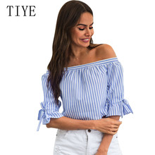 TIYE New Word Shoulder Color Print Navy Blue Striped Shirts Short Paragraph Strapless Trumpet Sleeve Fashion Bow Blouses Mujer