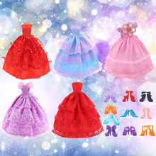 5 Pcs Fairy Girl Dolls Toys Wedding Party Lace Dresses Gown Outfits Doll 10 Pair Shoes Set Accessories for Barbie Toys Girl Gift(China)
