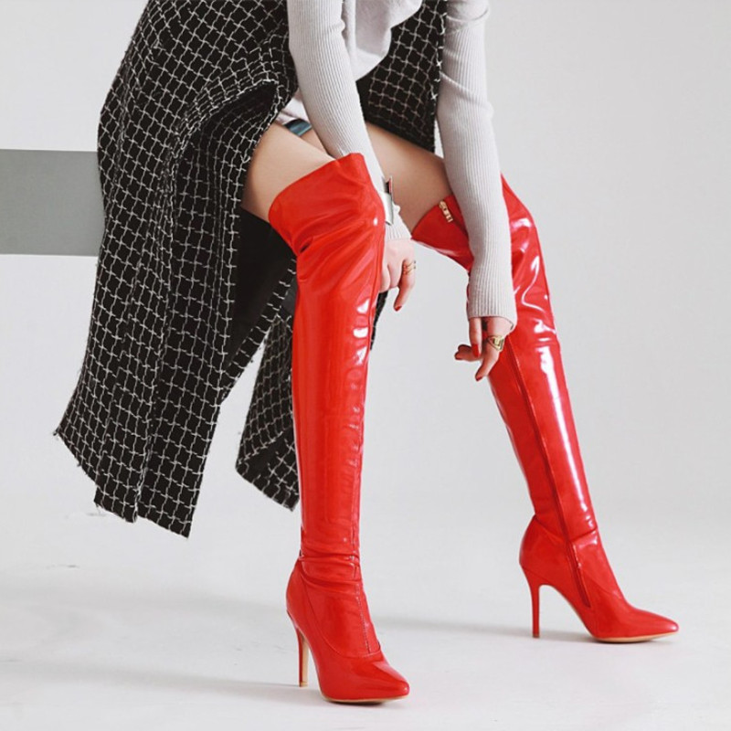 Pointed Toe Thigh High Boots Women Winter Shoes Patent Leather High Heels Women Over The Knee Boots Sexy Motorcycle Boots daidiesha knee high boots embroidery genuine pu leather women boots in winter square high heels boots sexy pointed toe shoes