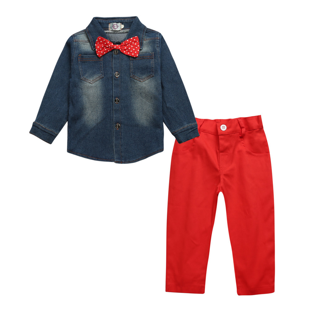 Toddler kids boys clothes set Baby boy Aautumn clothing set gentleman Jeans shirts tops + Red pants 2pcs suit For 2 3 4 5 6 7 Y