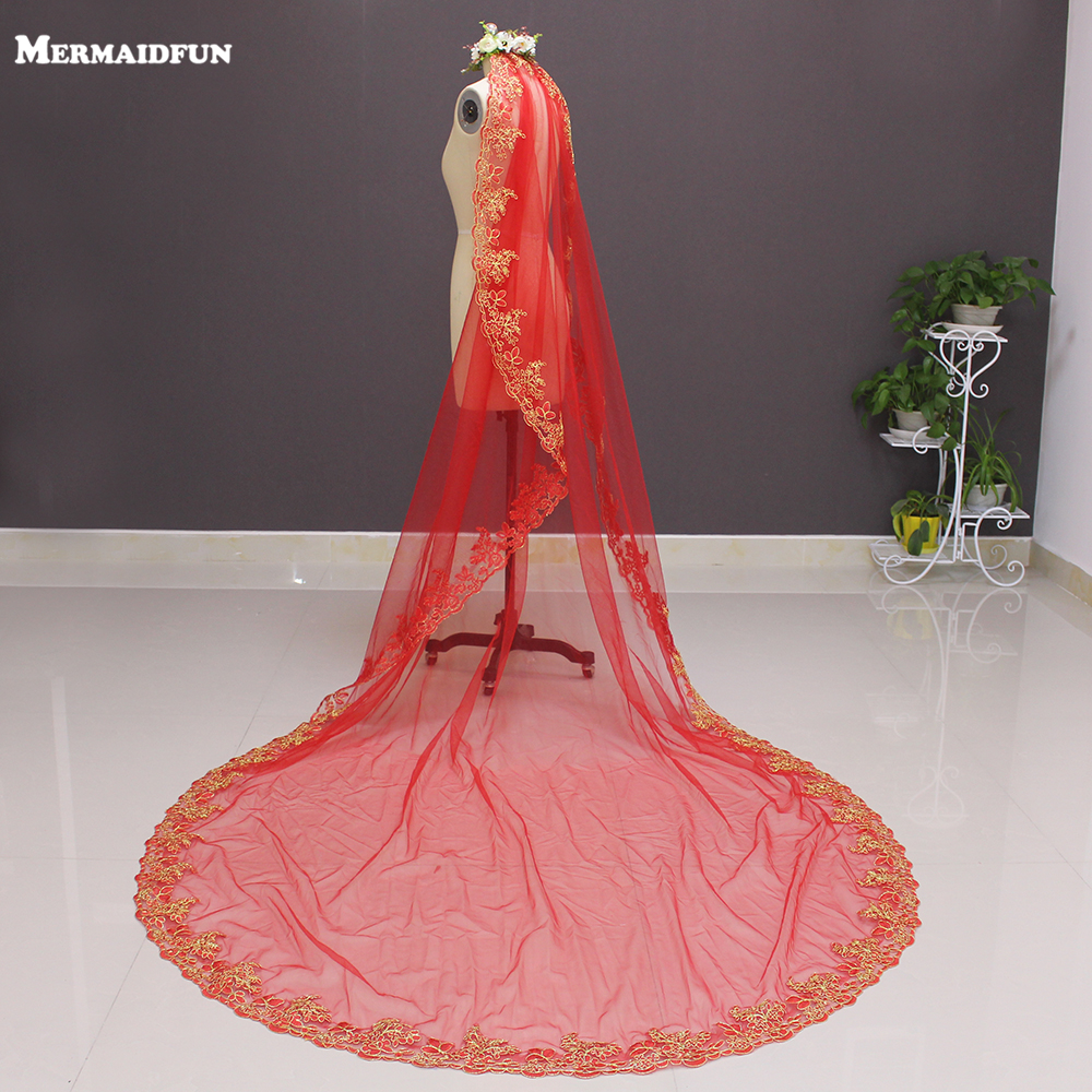 2019 One Layer Gold Lace Red Tulle 3 Meters Long Wedding Veil with Comb 3 M