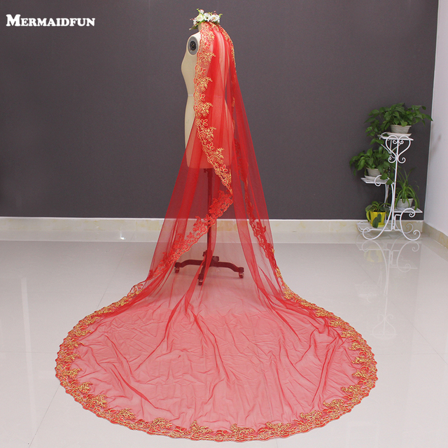 2019 One Layer Gold Lace Red Tulle 3 Meters Long Wedding Veil with Comb 3 M Lace Edge Bridal Veil