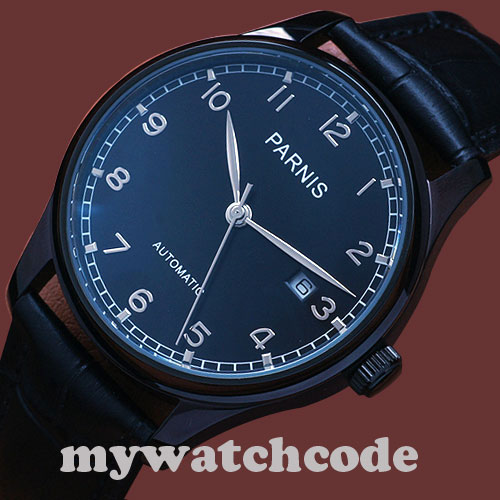 лучшая цена 43mm parnis black dial PVD case date ST automatic movement mens watch P335