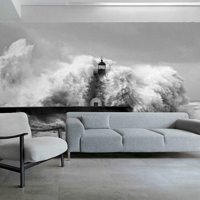3d stereoscopische strand spray grote mural behang slaapkamer ...