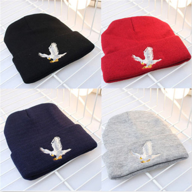 winter women s eagle print warm elastic knitted hat fashion casual hat  cotton hat beanie hat b382df678