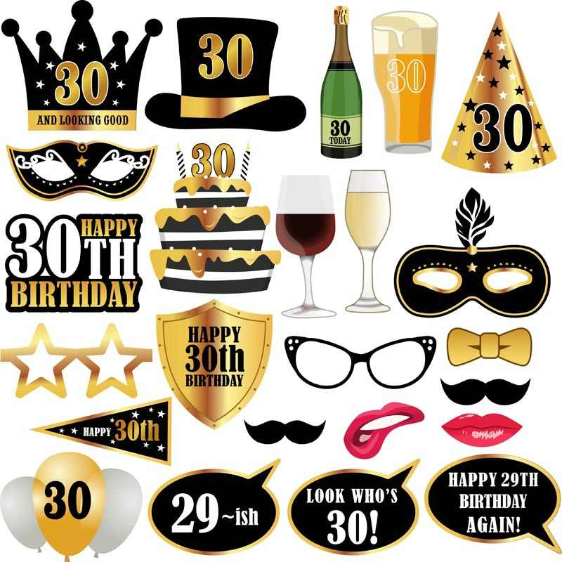 30/50/60th Happy Birthday Photo Booth Props Mask Photobooth 30 Years Adult Party Decoration Photobooth Birthday Fovers