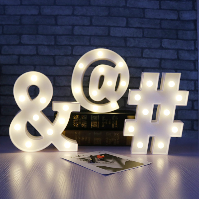 delicore white letter symbol led marquee night light sign alphabet