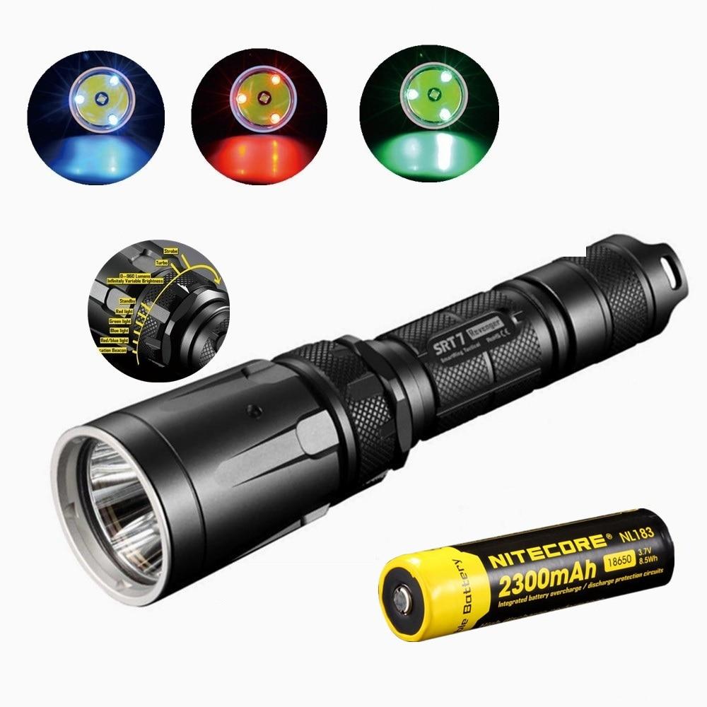 NITECORE SRT7 Flashlight with nitecore NL183 18650 2300mah battery XM-L2 960LM Smart Selector Ring Search Torch green blue red цены