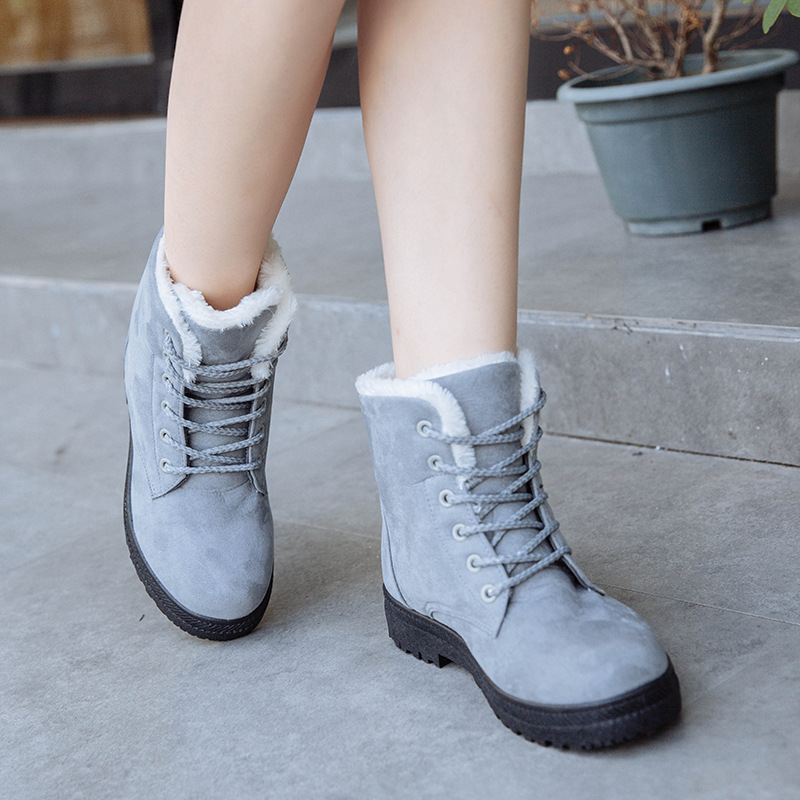 3b0ac990f3d5 New women boots Plus cashmere warm Fashion winter snow boots lace female  ankle bootse women boo winter casual shoes emu Leggings في New women boots  Plus ...