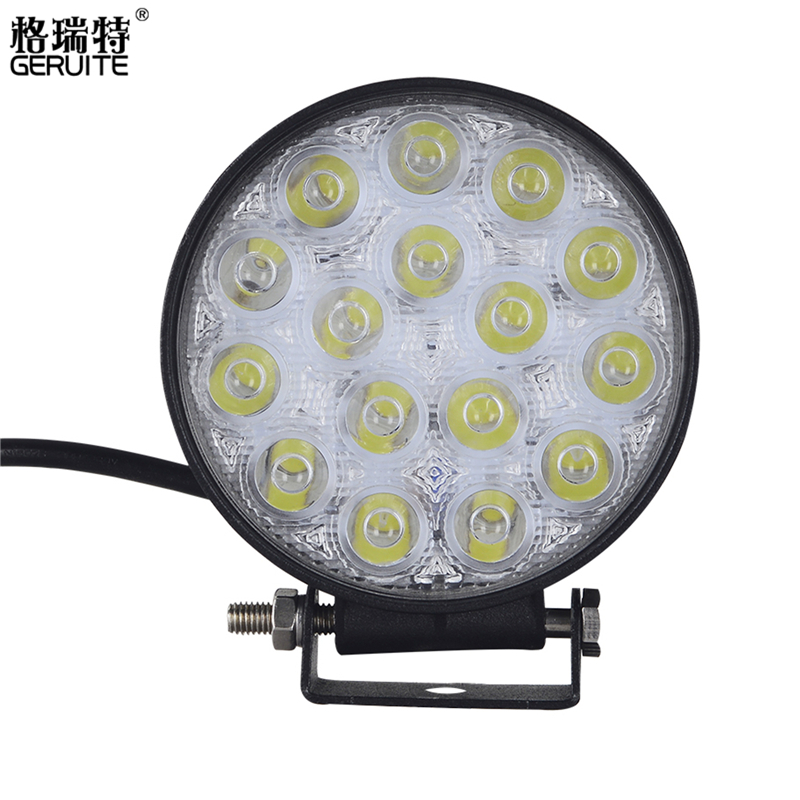 GERUITE Brand 48W LED Work Light Waterproof Round Offroad Boat Truck Tractor Light Bar for Indicators Motorcycle Driving Car geruite brand 18w led work light for indicators motorcycle driving offroad boat car tractor truck 4x4 suv atv spot flood 12v