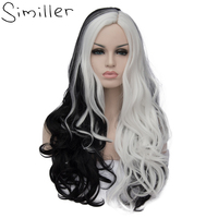 Similler Women Long Wavy Synthetic Wig Black And White Patchwork Colors Cosplay Hair Anime Costume For