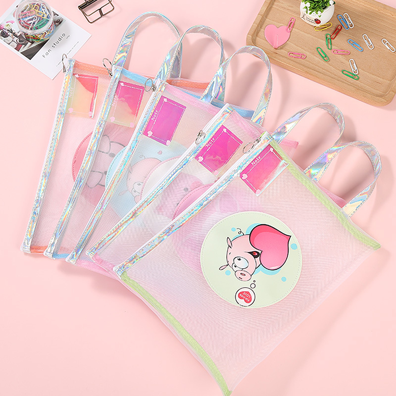 Cartoon Laser Pig A4 File Holder Portable Zipper Mesh Document Bag Korean Staionery Office School Supplies