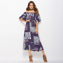Floral print Vintage maxi dress Women beach female summer voile women 2018 clothing plus size