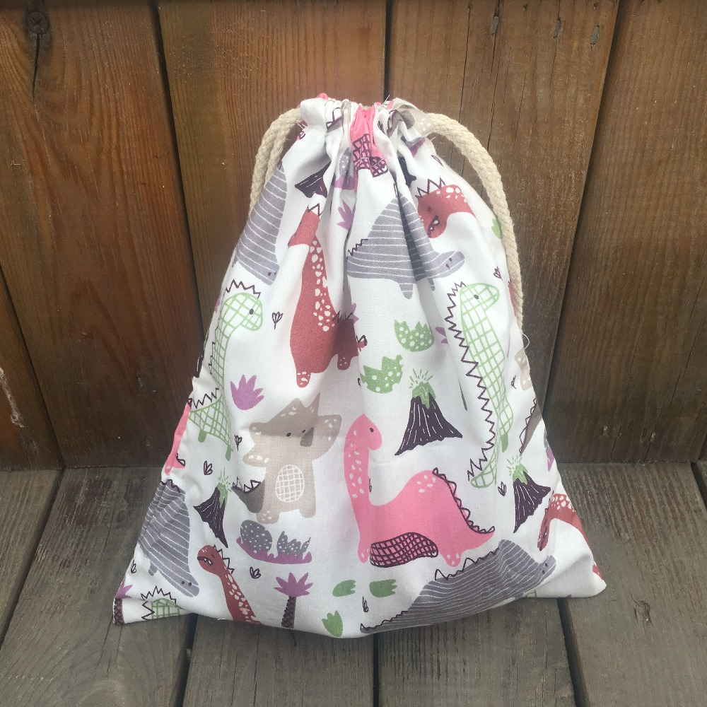 YILE 1pc Cotton Twill Drawstring Pouch Organizer Party Gift Bag Print Dinosaurs Pink YL9415a