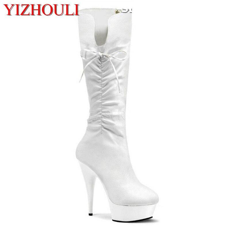 Classiques noir 15 cm ultra hauts talons bottes femmes plate-forme bottes chaussures 6 pouces Sexy genou bottes à talons hauts chaussures de danse