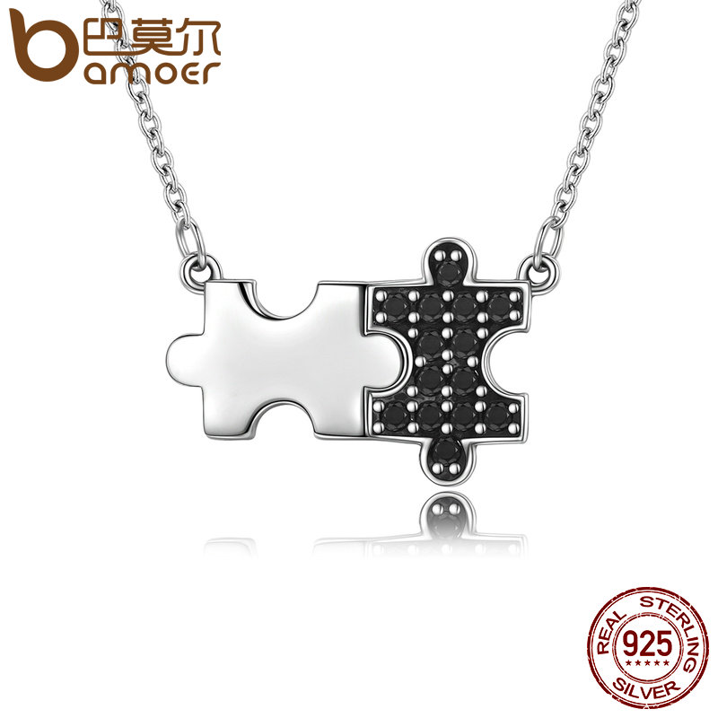 BAMOER Authentic 925 Sterling Silver Black CZ & Mystery Puzzle Square Pendant Necklace Women Sterling Silver Jewelry SCN129 bamoer authentic 925 sterling silver red cz evil and angel pendant necklace earrings jewelry set sterling silver jewelry zh067