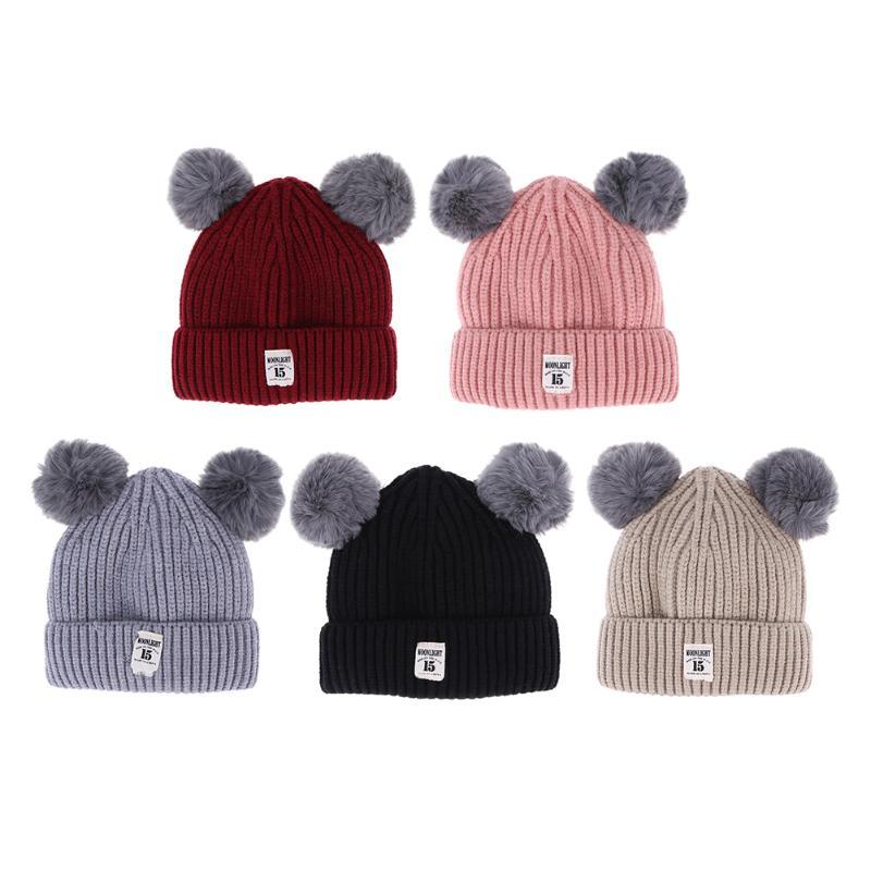 Baby Boy Girl Double Balls Woolen Knitted Hat Children Winter Warm Hat Caps Crocheted Beanies for Kids 0-4Y