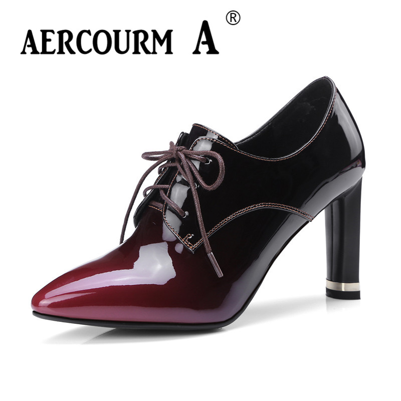 Aercourm A Women Spring Pumps Women High Heel 8.5 CM Lace-up Shoes Genuine Leather Shoes Pumps Cowhide Shoes Pointed MLD186-4 aercourm a 2018 new women genuine leather shoes ladies white pink dress solid shoes thin heel women pointed head pumps fde1121