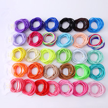Wholesale 50 Pcs Elastic Hair Band Candy Color Headband Solid Kids Hair Ropes Ponytail Holders Rubber Hair Accessories for Girls