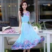 Summer Women Dress Floral Printed Big Yards Long Chiffon Beach Dress Vestidos Sleeveless Tank Pink Blue Yellow Plus Size Clothes