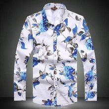 Camisa Masculina Stylish 2016 New Men Long Sleeve Shirt Plus Size Mens Shirts Spring Casual Flower Print Slim Fit Mens Clothes