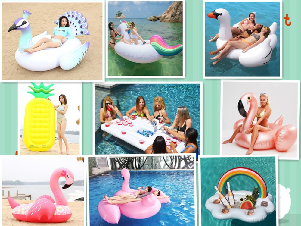 11 Style Inflatable Pool Float Giant Swan Flamingo Floats Pineapple Unicorn Swimming Ring Air Mattress Water Toy boia piscina