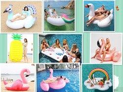 11 estilo Flamingo Cisne Gigante Piscina Inflável Flutuador Flutuadores Abacaxi Unicórnio Brinquedo boia piscina de Água Anel de Natação Colchão de Ar