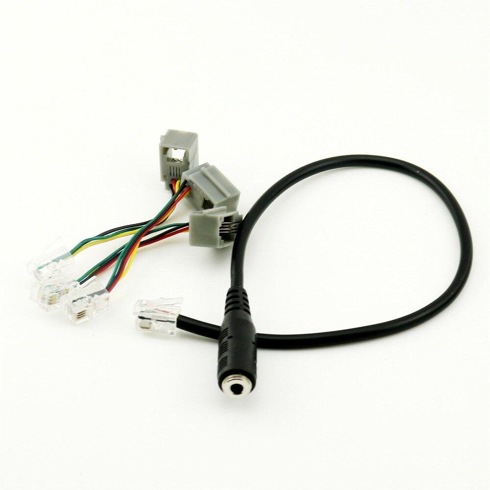 1 pc 3,5mm hembra Jack a 4P4C RJ9 hombre auriculares de teléfono Adaptador de Audio convertidor de Cable