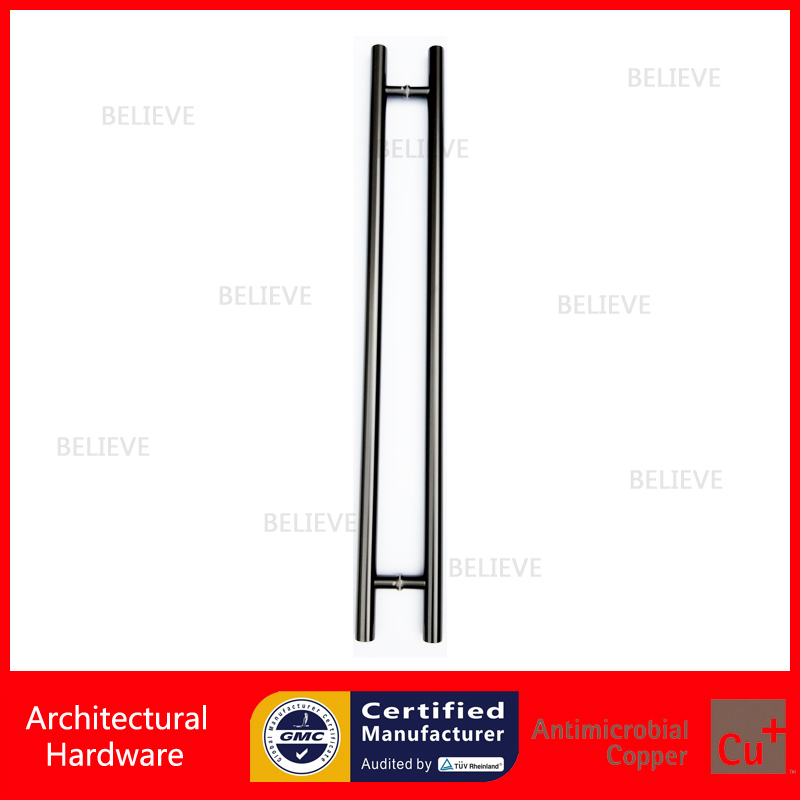Entrance Door Handle 304 Stainless Steel Pull Handles PA-102-Black Electroplated Steel For Entry/Front Wooden/Glass/metal Doors 2000mm length square tube golden entrance door handle stainless steel pull handles for wooden metal glass doors pa 637
