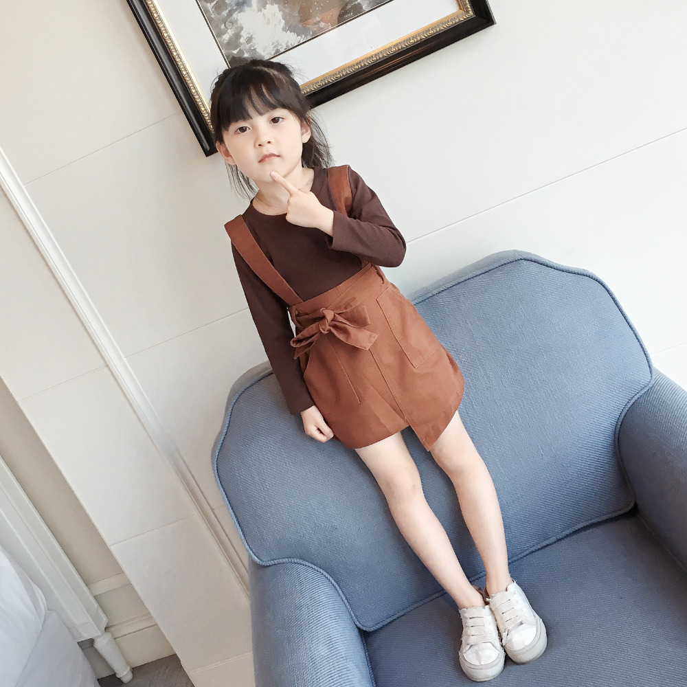 2017 Limited Rushed Kids Dress Set Knee-length Girl Fashion Suspenders Style Spring And Autumn Clothes Dresses For Girls Party s 4xl plus size women pencil dress 2016 fashion striped knee length autumn dresses
