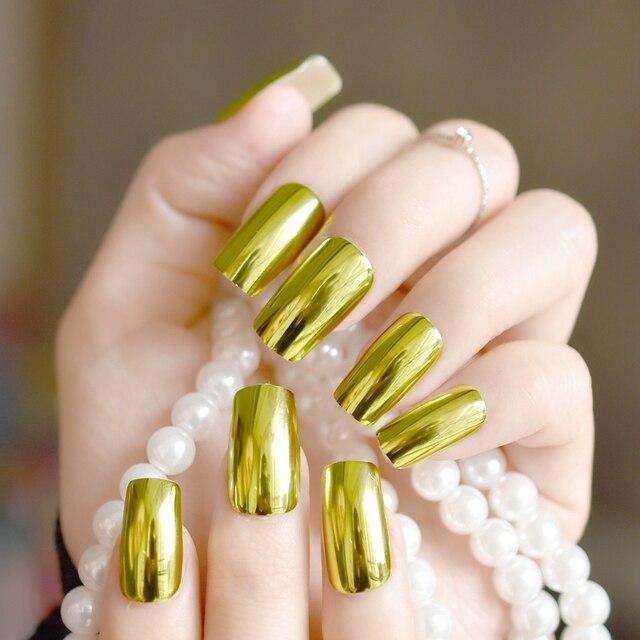 24pcs Olive Green Metallic Nail Tips Flat Medium Acrylic Women Easy