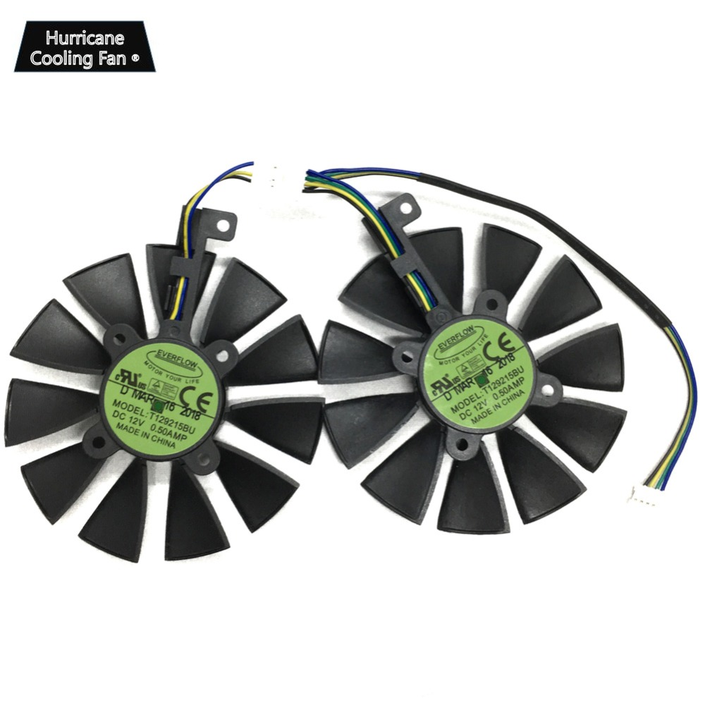 Image 2 - 2Pcs/Lot T129215BU T129215SU VGA GPU Cooler GTX 1070 GTX 1060 Graphics Card Fan for ASUS Dual GTX1060 GTX1070 Video card cooling-in Fans & Cooling from Computer & Office