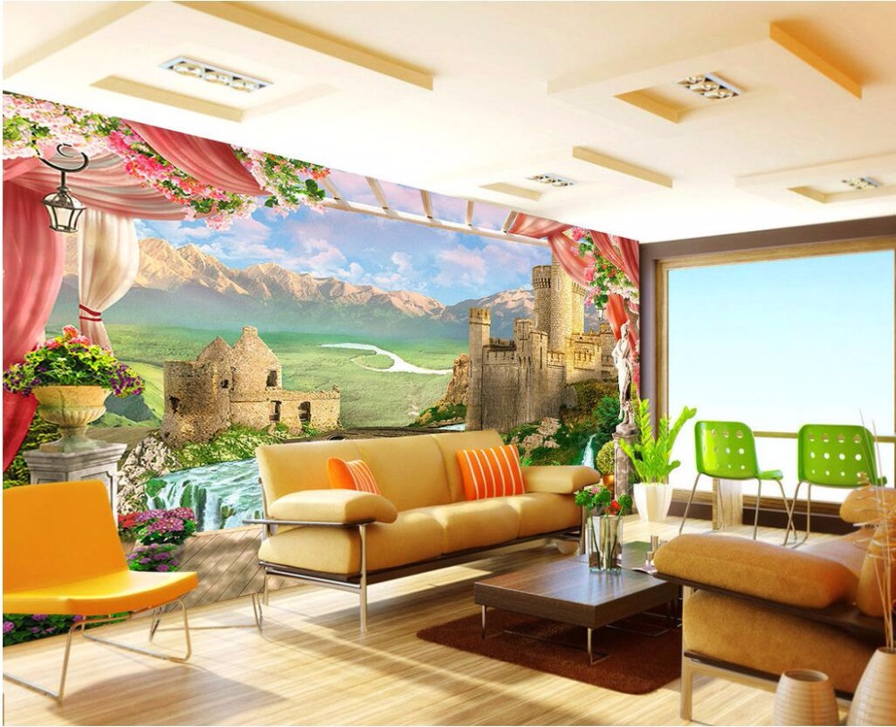 Custom mural 3d wallpaper balcony mountain castle photo for Custom photo mural wallpaper