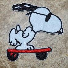 Спортивные забавными щенятами, упрямый пес на skateboar гладить на нашивки, нашивка на одежду, с аппликацией, из ткани, гарантированное качество